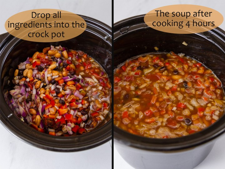 process shots for making tortilla soup