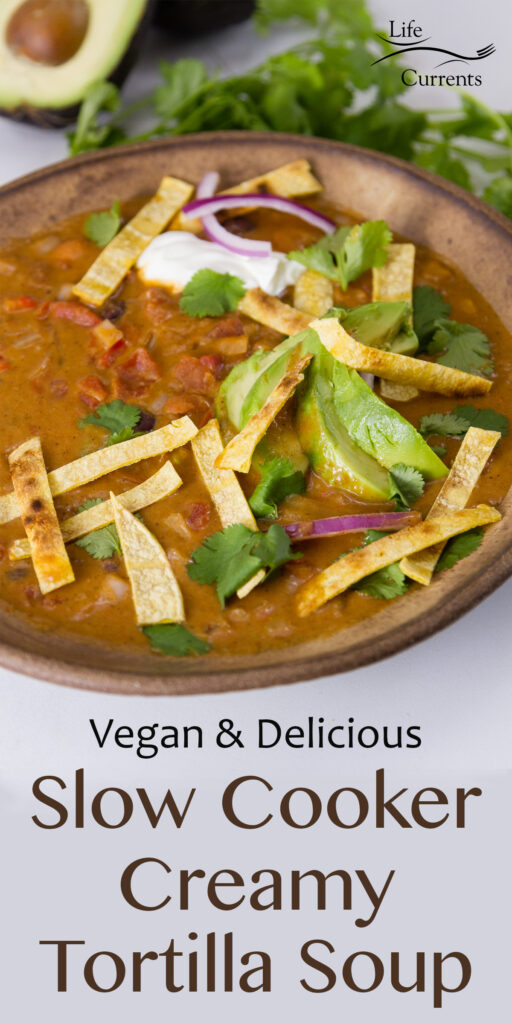 title on image: vegan & delicious Slow Cooker Creamy Tortilla Soup in a brown bowl with lots of toppings, avocado in background