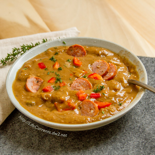 "Dan's World Famous Gumbo could also be called ""As you like it Gumbo"" because it starts with a delicious vegetarian Gumbo base, and you can add in whatever you like, shrimp, chicken, Andouille sausage, or veggie sausage."