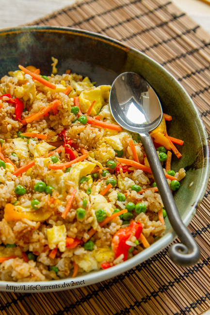 One of our favorite quick meals with lots of veggies! Fried Rice comes together really quickly and is delicious! By Life Currents https://lifecurrentsblog.com