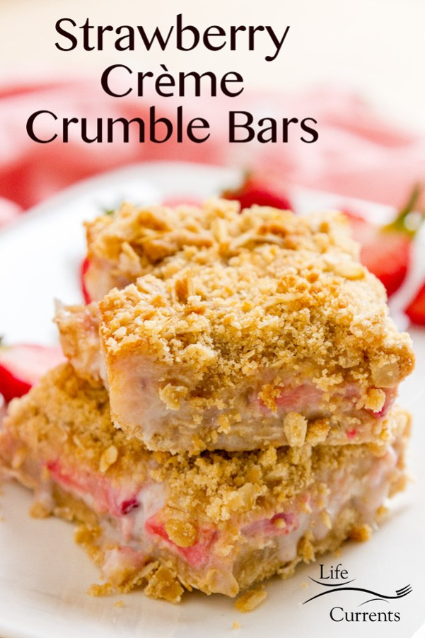 Strawberry Crème Crumble Bars are sweet crumbly dessert bars with an awesome oatmeal cookie crust, and a streusel topping that's filled with oats and brown sugar! Your whole family will love them! dessert snack