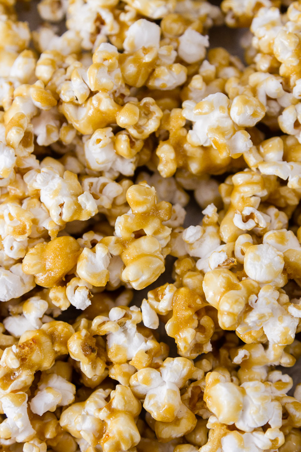 close up shot of the caramel corn