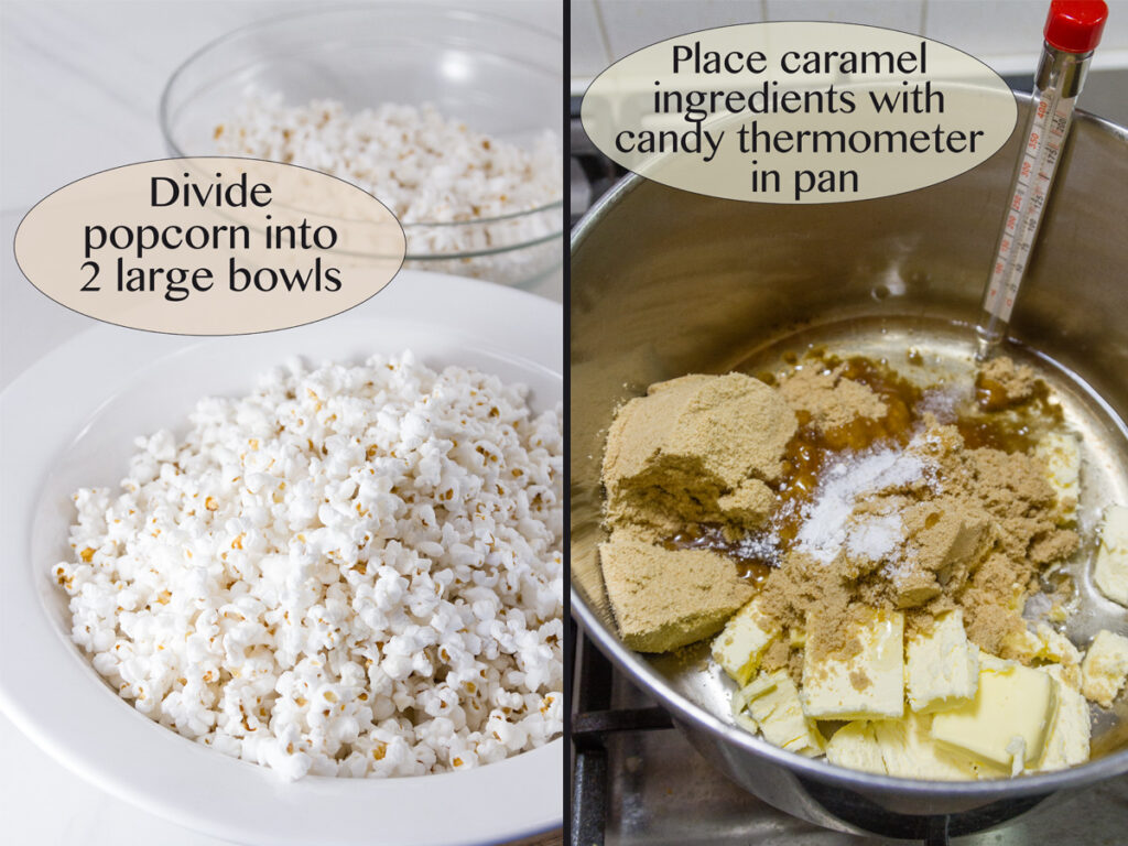 process shots for how to make caramel corn: popped corn and caramel ingredients