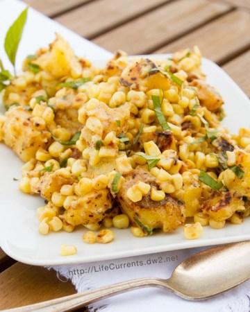 Corn Sauté with Fresh Basil and Potatoes