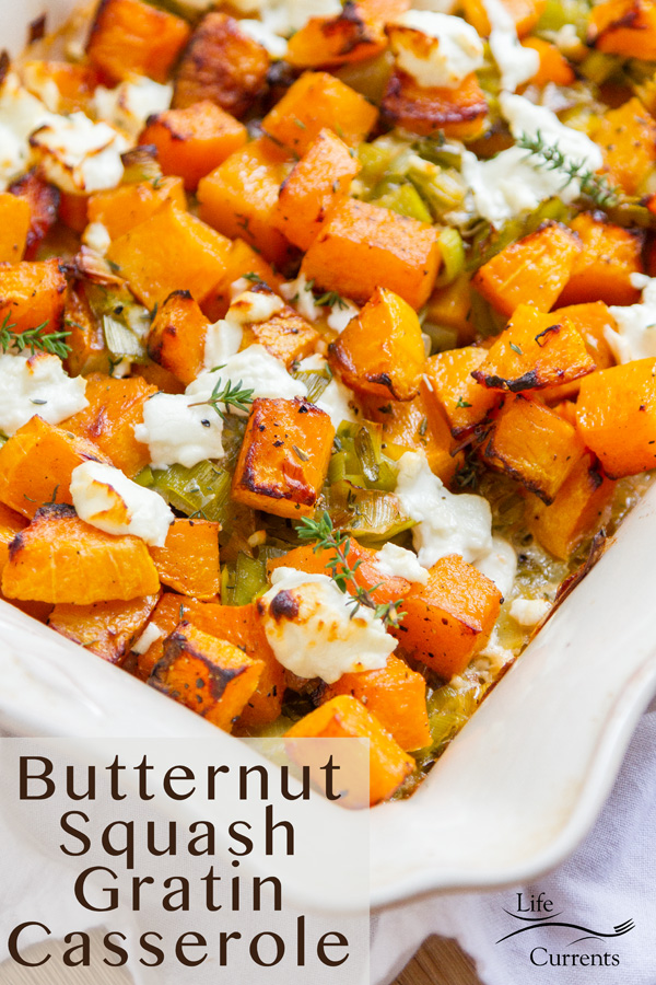 Vertical crop Butternut Squash Gratin Casserole with title