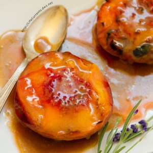 We made these Grilled Peaches with Cointreau Caramel Sauce the other day when some friends came over for dinner and they brought some peaches. Dan decided to make some quick caramel sauce to go along with the peaches. And, let me tell you, this sauce is amazing! Quick and easy to make, only three ingredients, and so delicious!