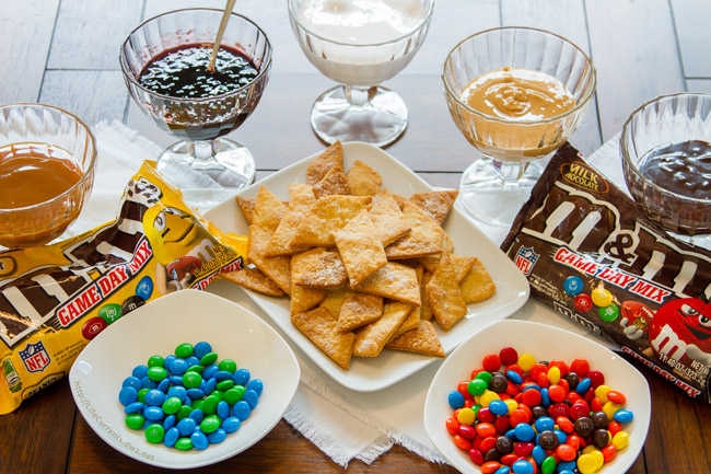 Football Party Dessert Spread including Pie Crust Cookies with M&M'S® Brand Milk / Peanut Chocolate Candies Game Day Mix
