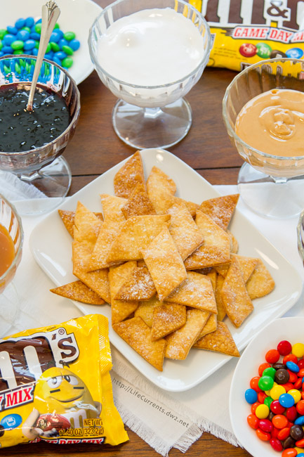 Football Party Dessert Spread including Pie Crust Cookies with M&M'S® Brand Milk / Peanut Chocolate Candies Game Day Mix - this is the perfect easy way to entertain during football season