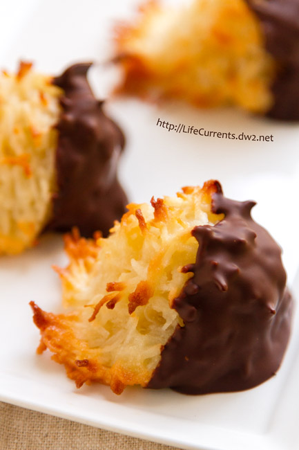 Chocolate Dipped Coconut Macaroons - These are definitely one of my favorite cookies - crunchy toasted exterior with a chewy soft inside