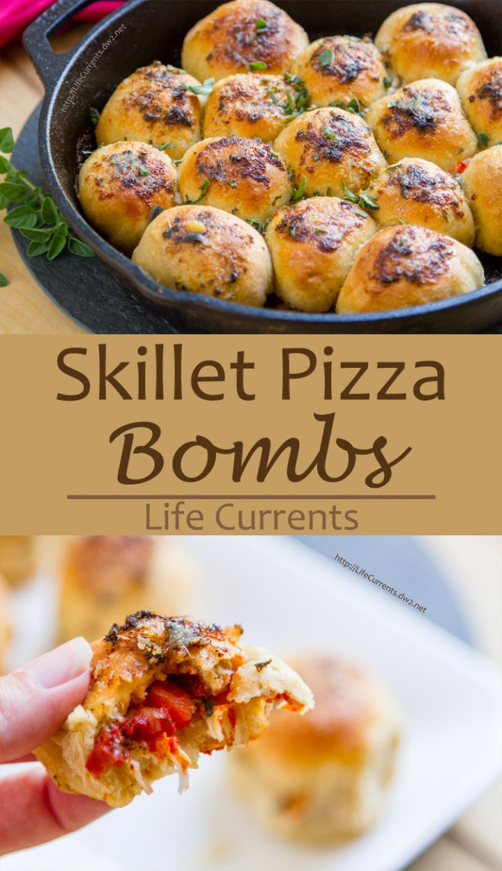 These Skillet Pizza Bombs are so much fun! Soft rolls of pizza dough surrounding your favorite pizza fillings, baked to pizza-goodness, and topped with garlic herb butter. Yum! These didn't last long in our house, that's for sure!
