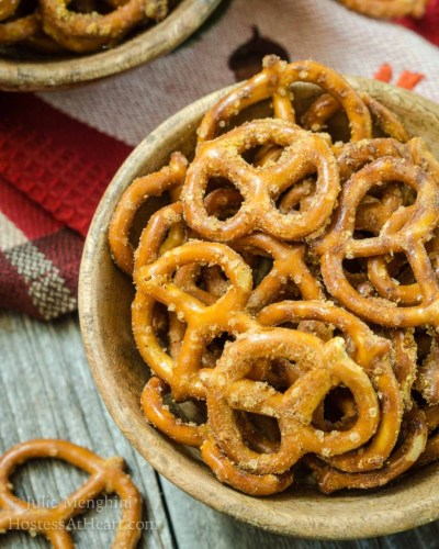 October is Tailgating Snacks Month - Spicy Nacho Cheese Pretzels