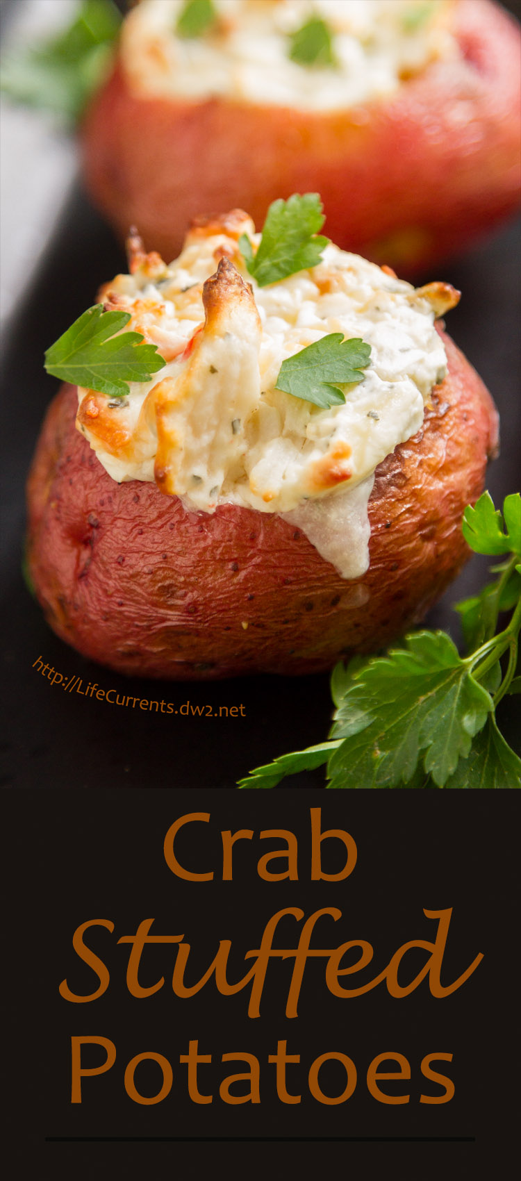 Crab Stuffed Baked Potatoes - Rich creamy crab filling inside earthy baked potatoes. These can be a great main course for dinner, a light lunch, or a fancy appetizer!