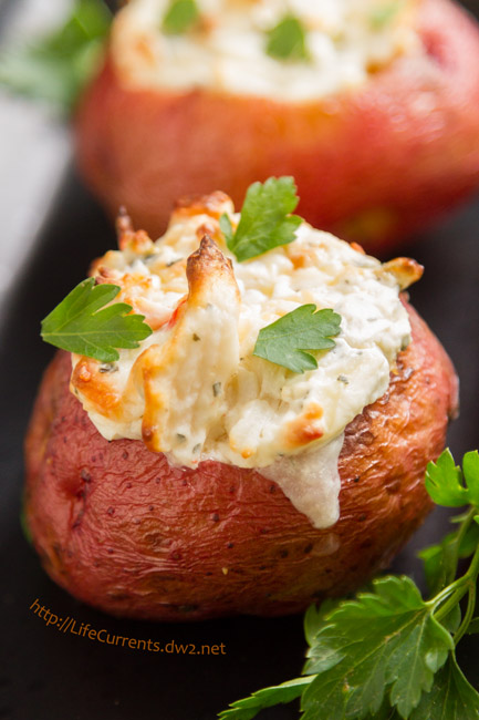 Crab Stuffed Baked Potatoes by Life Currents