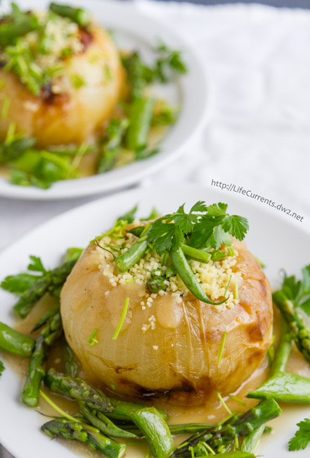Roasted Sweet Onions with Couscous and Veggies {a tribute to Charlie Trotter}