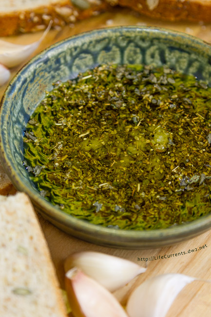 Chimichurri Sauce featured Recipe for Garlic Dipping Oil - a classic combination of lovely dried herbs, fresh garlic, and flavorful olive oil to dip crusty bread in