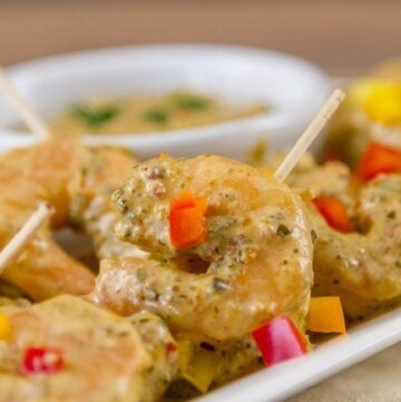 Creamy Pesto Shrimp Appetizer Recipe is super quick & easy & really delicious!