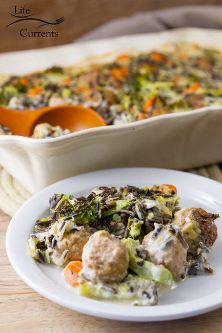 Broccoli Wild Rice Casserole - Creamy sauce, nutty wild rice, earthy broccoli, Hearty meatballs - Oh this casserole is so yummy! Your family will love it!