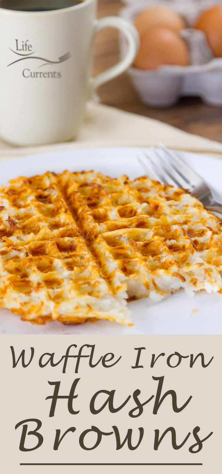 Waffle Iron Hash Browns on a plate with a coffee cup