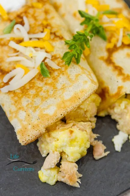 Tuna, Egg, and Cheese Crepes - a great meal anytime of day!