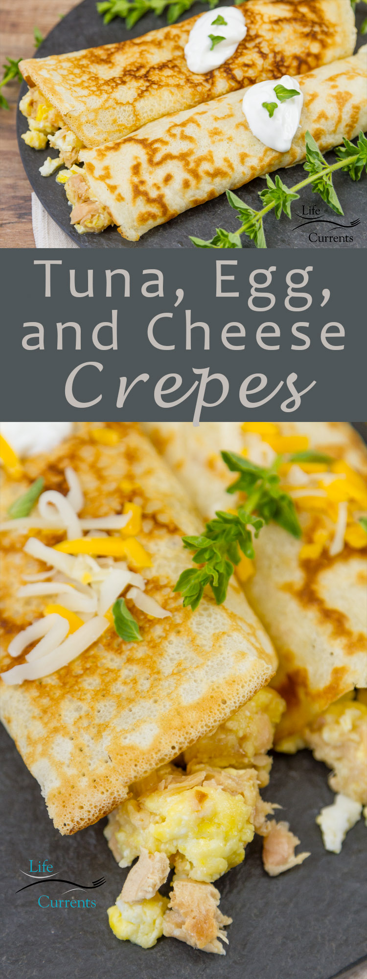 Tuna, Egg, and Cheese Crepes recipe - simple homemade goodness any time of the day!