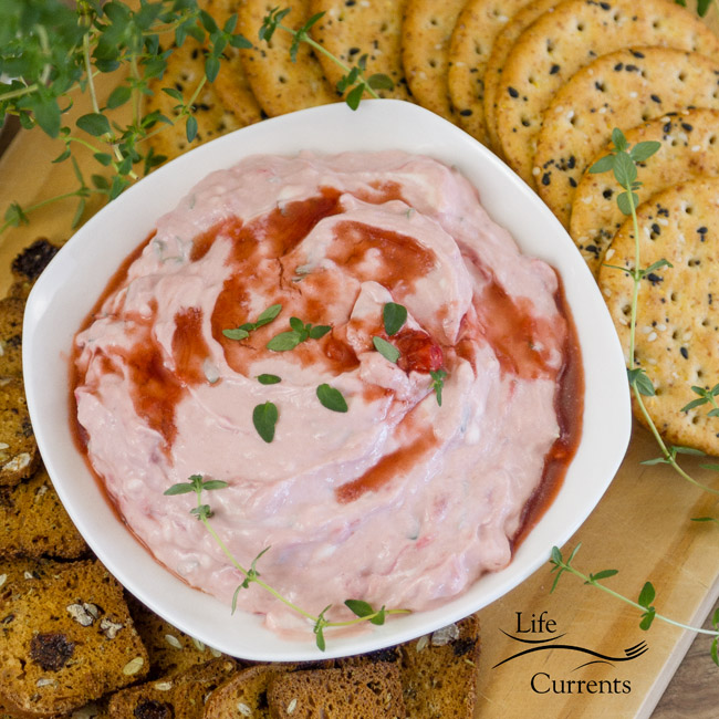 Strawberry Balsamic Goat Cheese Spread a nice light fruity spread that's perfect for summer entertaining.