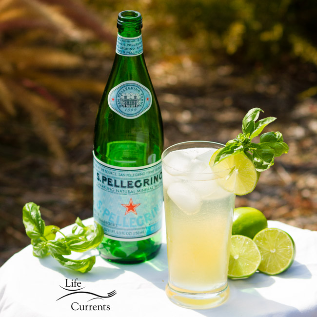 Basil Lime Sparkling Green Tea with San Pellegrino Sparkling Mineral Water is a refreshing way to face the heat of summer!