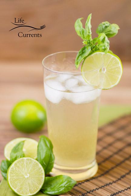 Basil Lime Sparkling Green Tea drink recipe