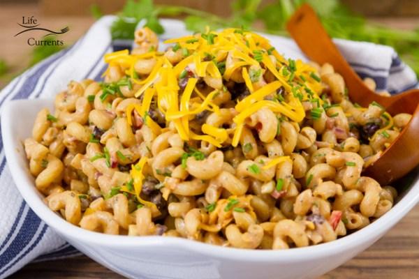Skinny Avocado Ranch Pasta Salad featured recipe for Loaded Southwestern BBQ Pasta Salad