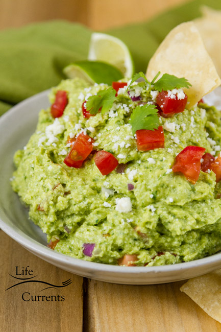 Mexican Avocado Cotija Dip It's guacamole, but kicked up a couple notches, making it an impressive and fancy dip that's perfect for entertaining.