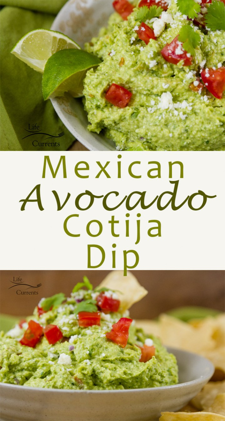 This Mexican Avocado Cotija Dip is so good! A nice salty, but not overpowering, flavor from the Cotija cheese, balancing the creamy avocado. It's guacamole, but kicked up a couple notches, making it an impressive and fancy dip that's perfect for entertaining.
