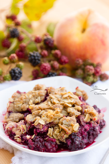 Blackberry Peach Fruit Crisp with Oatmeal Cookie Crumble - I always have the ingredients in my cupboard. Just pick up some fresh juicy fruit, and you're in fruity heaven!