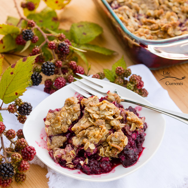 Blackberry Peach Fruit Crisp with Oatmeal Cookie Crumble - tart blackberries, sweet peaches all combine together to make a great dessert