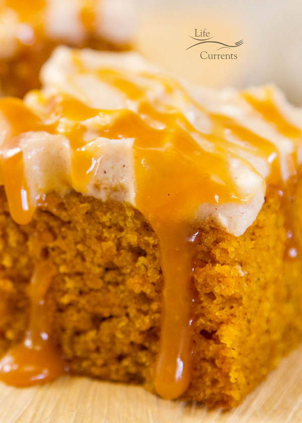 Pumpkin Spice Cake with Apple Butter Cream Cheese Frosting and Salted Caramel Sauce it's a perfect fall dessert