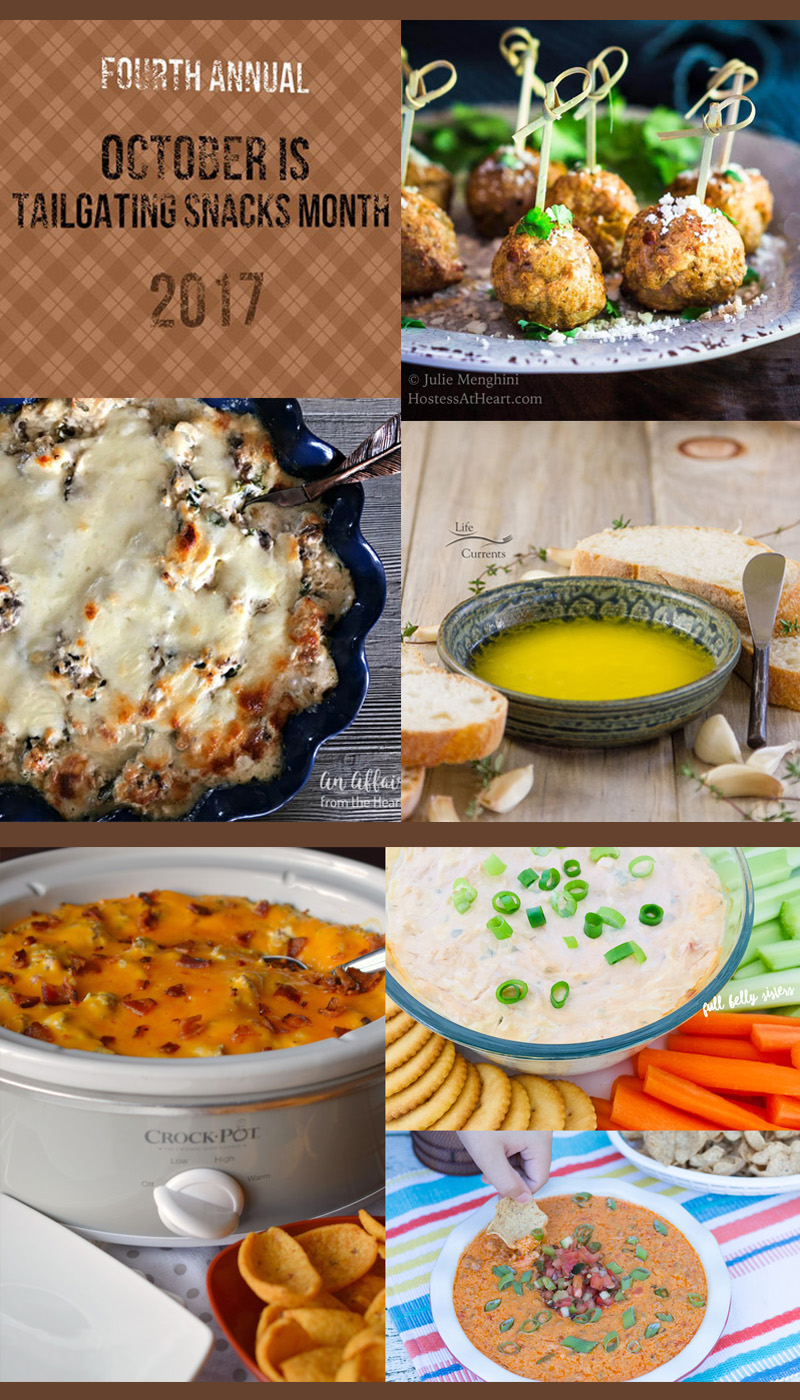 Tailgating Snacks Month 2017 Round Up Collage of all the super creative recipes that you're going to want for tailgating or football parties!
