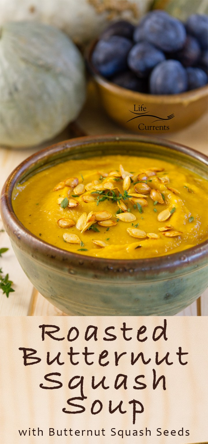 Butternut Squash soup starts with roasting the veggies so they get all toasty and nutty - delicious #vegan #glutenfree #Roasted #ButternutSquash #Soup #comfortfood #delicious