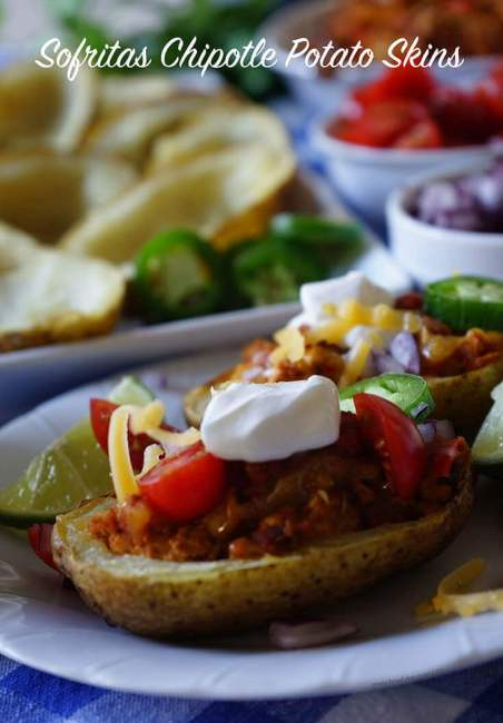 October is Tailgating Snacks Month 2017 - Sofritas Chipotle Potato Skins