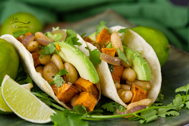 White Bean & Sweet Potato Taco Filling and your favorite taco fillings or toppings, like avocado, salsa, rice, or your choice and you're ready for taco Tuesday or any day!