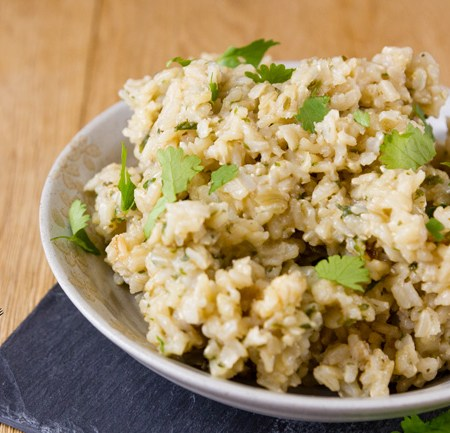 Rice Cooker Cilantro Brown Rice - easy and delicious for Meatless Monday