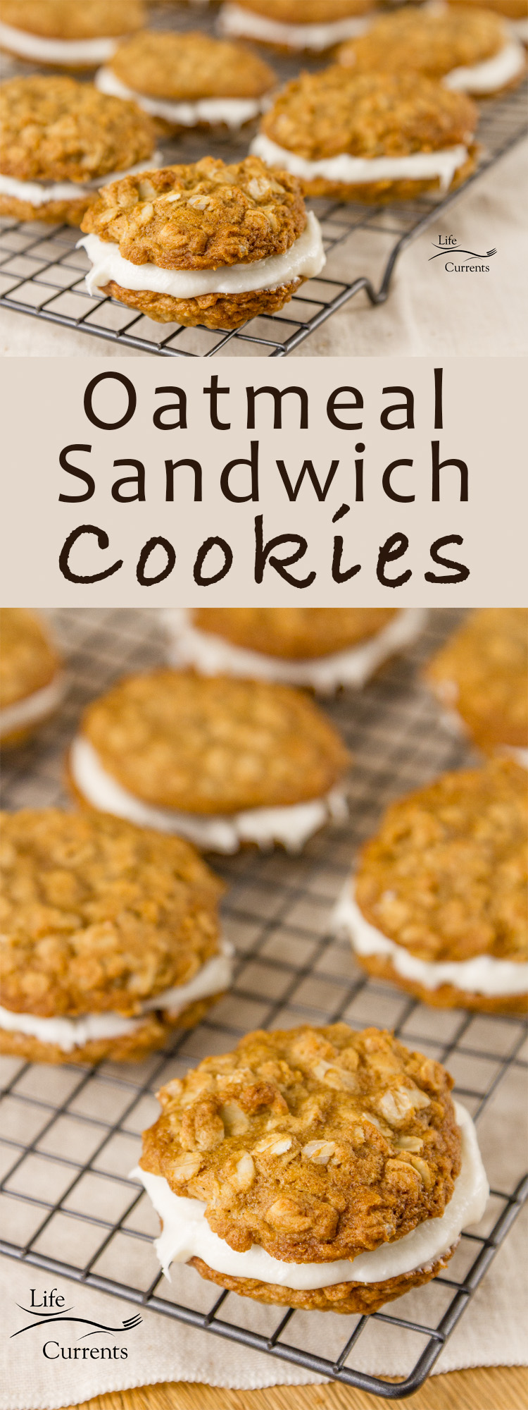 Oatmeal Sandwich Cookies - Homey comforting oatmeal cookies wrapped around sweet creamy white filling. #cookies #oatmeal #cookieexchange #oatmealcookie It's like being a kid again.