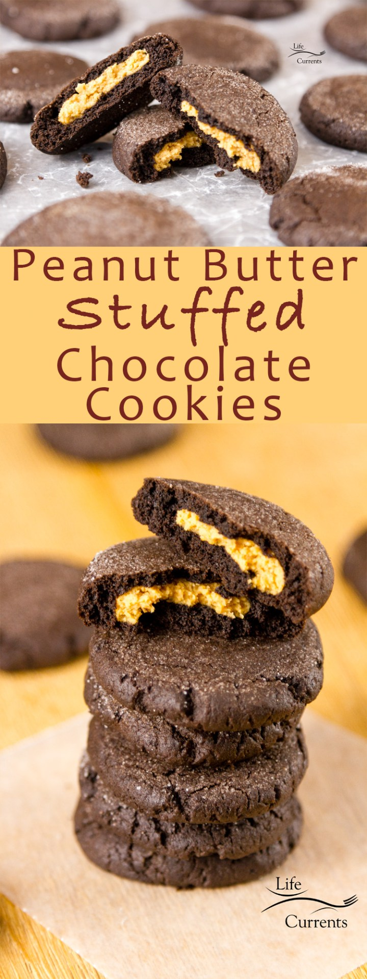 Peanut Butter Stuffed Chocolate Cookies - Sweet creamy peanut butter surrounded by a soft chocolate cookie #cookie #chocolate #peanutbutter