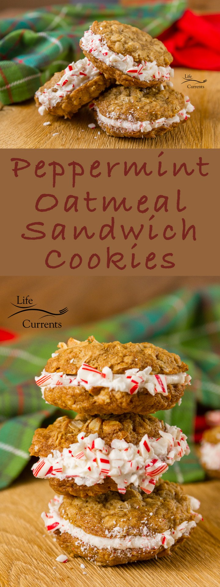 Peppermint Oatmeal Sandwich Cookies Recipe - a childhood classic, all dressed up for the holidays #peppermint #holidays #cookie #holidaycookie