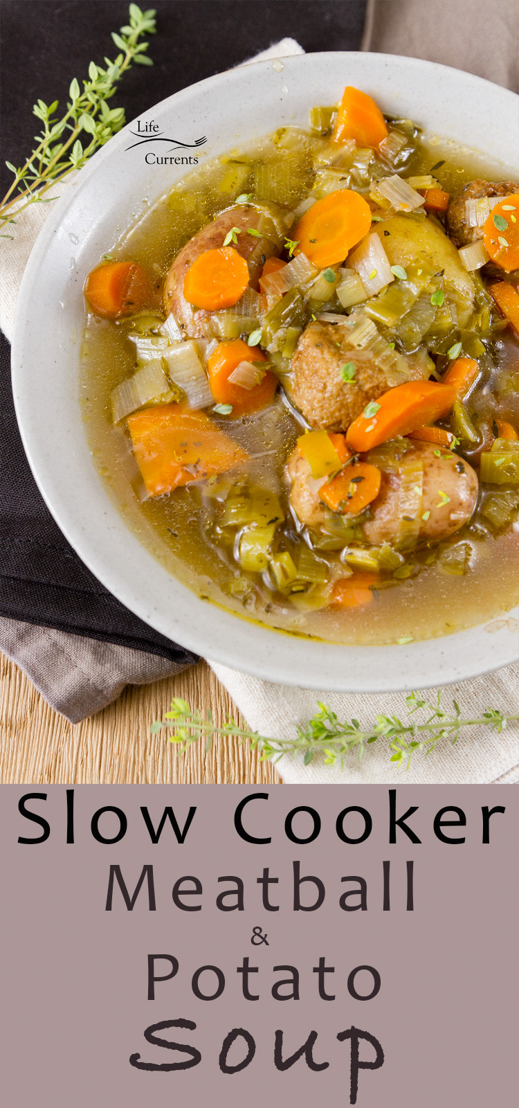 Slow Cooker Meatball and Potato Soup I love this herby brothy veggie filled soup. It's rich and filling, without being heavy and thick, and it's nice and healthy, and loaded with flavor #slowcooker #crockpot #soup #vegetarian #meatlessMonday