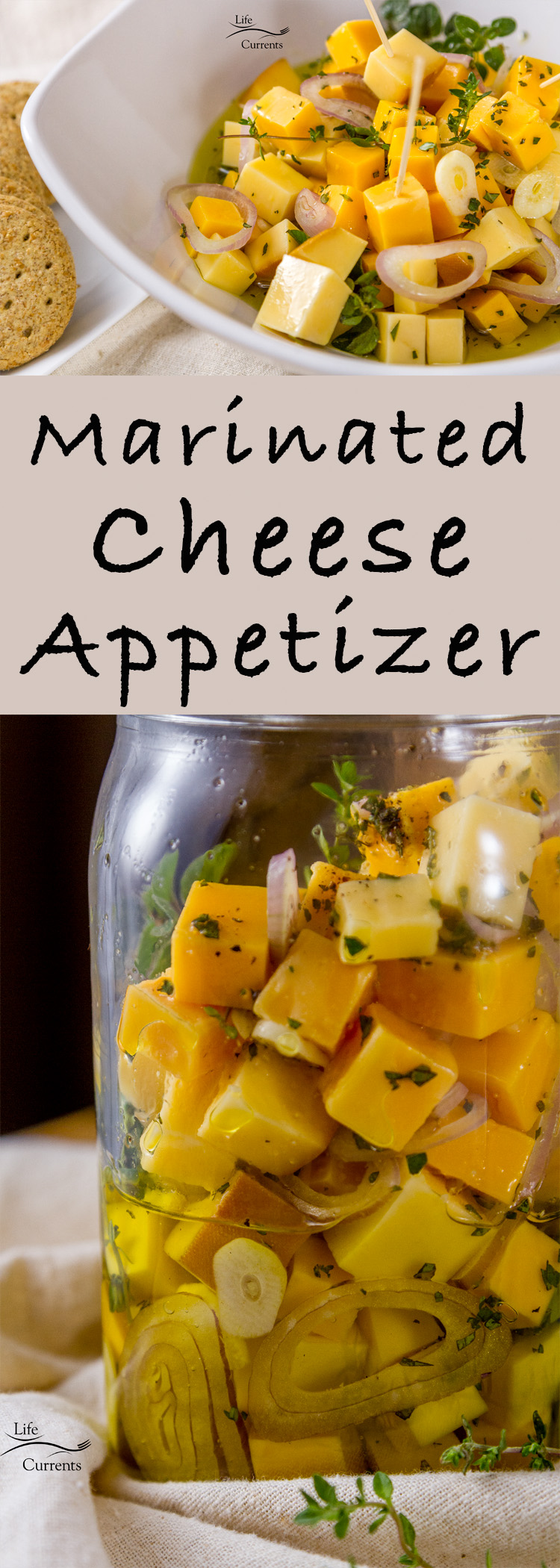 Marinated Cheese and Herbs Appetizer - perfect for holiday parties, new year's eve parties, or any potluck! #cheese #appetizer #party #easy