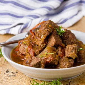 Crock Pot Braised Beef with Balsamic Tomatoes
