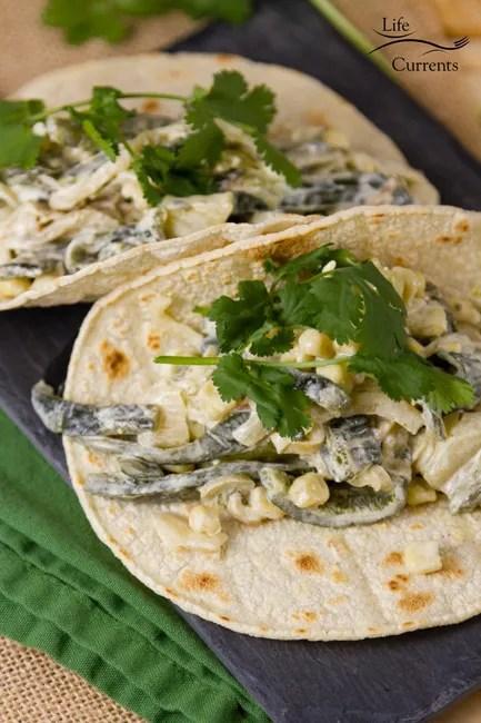 Sheet Pan Creamy Poblano Tacos