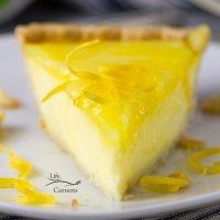 Grandma's Lemon Custard Pie with Lemon Curd Topping