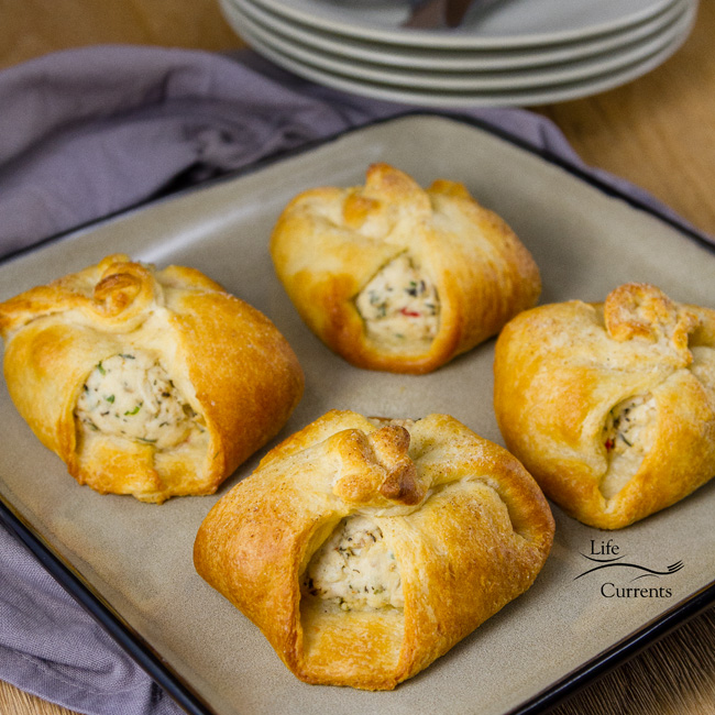 Crescent Chicken Squares This is a recipe my mom used to make when I was a kid; it was one of my favorites. Chicken and cream cheese wrapped in crescent rolls. So family friendly. So easy, and so good.