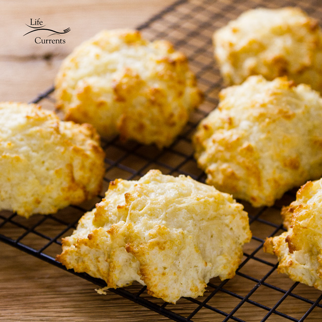 Parmesan Garlic Buttermilk Biscuits from Scratch Recipe square photo of biscuits cooling on a rack
