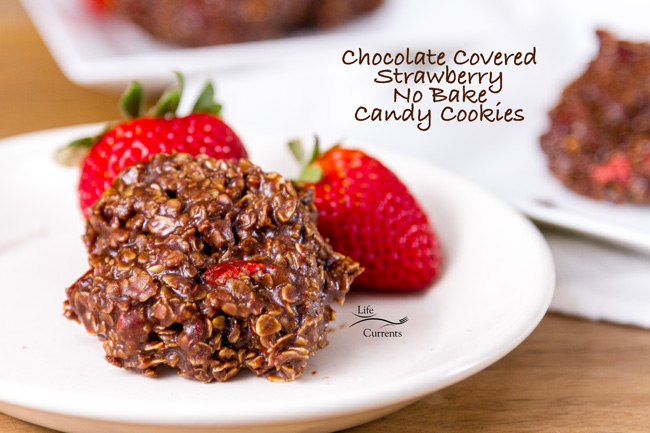 Chocolate Covered Strawberry No Bake Candy Cookies - a cookie on a white plate with strawberries