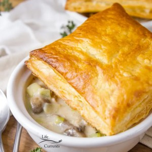 Individual Tuna Mushroom Pot Pies topped with a puff pastry square